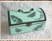 Decoupage wooden box - butterflies, moths dragonfly, insects.