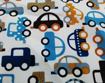 Car, in blue, fat quarter, pure cotton fabric