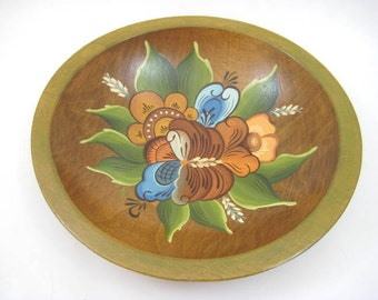 Vintage Scandinavian / Norwegian Tole - Rosemaling, Decorative Wooden Bowl, Blue and Green, Swedish Folk Art