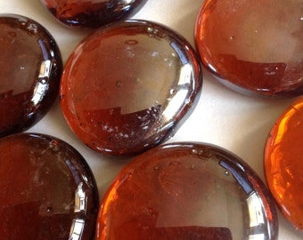 Mosaic Tiles 1lb Amber Shiny 30mm Glass Gems Jewelry Designer Art FREE SHIPPING