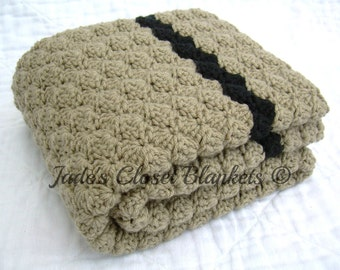 Crochet Baby Blanket, Baby Blanket, Crochet Brown Baby Blanket, Light Brown Taupe with Black accents, crib size