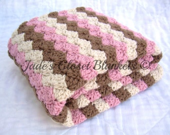 Crochet Baby Blanket, Baby Blanket, Crochet Baby Girl Blanket, Pink, Brown, and Cream, stroller travel pram size