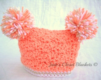Crochet Baby Girl Hat with Pom Poms, Peaches and Cream, peach, white, and off white, 0 to 18 months