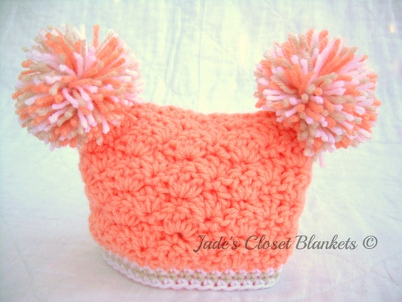 Crochet Patterns Using Peaches And Cream Yarn : Crochet Baby Girl Hat with Pom Poms Peaches and Cream peach