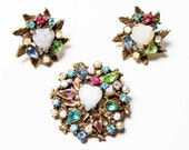 Vintage Heart Shaped Brooch and Earrings SET with Faux Opal and Rhinestone