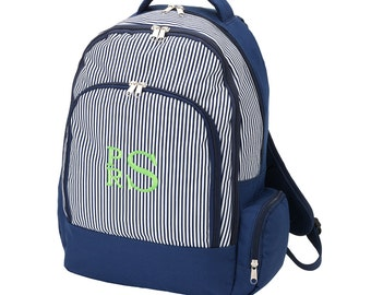 Navy Pinstripe Backpack - Back to School - Free Monogram!