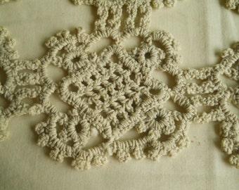 Vintage Light Gray Crochet Panel Doily Hand Made Doily Vintage Home Decor Tray Doily Table Doily Vintage Linens