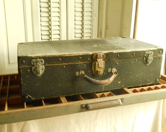 Vintage Black Wood Suitcase with Heavy Embossed Cardboard and Metal Latches, Corners with Leather Handle Houndtooth Paper Lining Suitcase