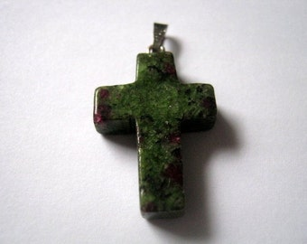 Unakite Gemstone Cross Pendant  (1098)