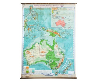 DISCOUNTED Vintage 1940s Denoyer Geppert Pull Down Map of Australia and Phillipines