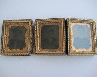 Antique 1860's Ambrotype Rare Set of Three Photos Ninth Plate Photography