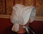 1800's Inspired SunBonnet---Re-Enactor Costume Pioneer - White Cotton