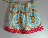 Girls Skirt Twirl Skirt Modern Daisy Pop Garden Red Polka Dots