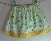Girls Skirt Twirl Skirt Daisy Aqua Yellow Meadow Sweet Polka Dot Ready to Ship!