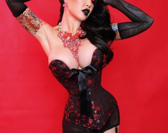Rose plunge over bust corset custom crafted