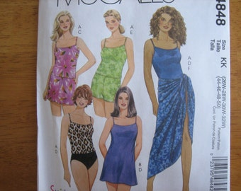 McCALL'S Pattern M4848 Women's Tops, Swimdress. skirt, Briefs, Swimshorts and Sarong     2005    Uncut