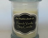French Vanilla, 8 Ounce Jar SOY Candle, White, Sweet Candle, Fitted Glass Lid, Chalkboard Label