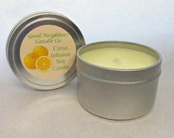 Citrus Infusion 6 ounce Tin, Soy Candle,Yellow, Fresh, Odor Eliminating, Mango, Tangerine and Orange Juice