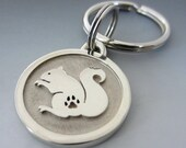 Large Stainless Steel Squirrel Pet Keychain