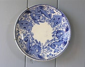 CHINOISERIE French Antique Plate With Blue Dragon - Shabby Chic  French Home Sarreguemines