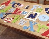 Full Wooden Alphabet - Hand Painted Wooden Wall Letters Set - 26 letters - mixed font and sizes
