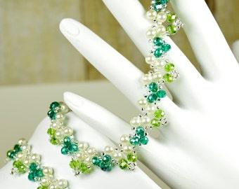 Forever Bouquet Garden Crystal Bracelet and Necklace Set