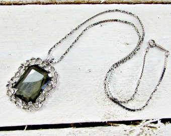 Vintage Gray Crystal Necklace, Black Diamond Necklace, Emerald Cut Crystal Necklace, Pendant Necklace, Silver Chain Necklace, 1970s Jewelry