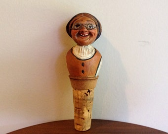 Twist O Wooden Carved Cork Wine / Bottle Stopper - Woman with Glasses