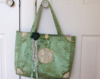 Green Tapestry Print Bag, Embellished, Green Velvet Flower Pin, Embroidered Brocade Print w/ Gold Piping, Antique Button, Green Rhinestone