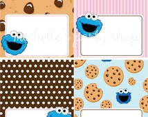 NEW - SET OF 12, Cookie Monster Food Tent Cards, Place Cards