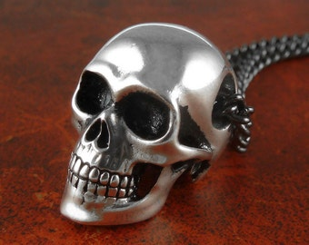 """Skull Necklace Antique Silver Anatomical Human Skull Pendant on 24"""" Gunmetal Chain"""