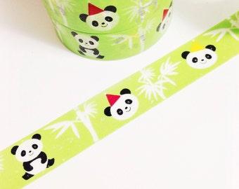 Lime Green Panda Bear Bamboo Washi Tape 11 yards 10 meters 15mm Panda Wearing a Hat Red Hat Yellow Hat Panda