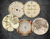 Old World  Globe Circles   2in   -  Digital Collage Sheet, Download for Resin Pendant, Round Circle Images INSTANT  (J32)