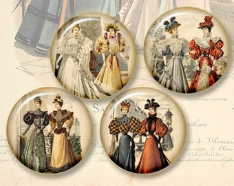 Victorian vintage fashion, backgrounds  circles 2 in -  instant  Digital Collage Sheet, Download for Resin Pendant (J28)