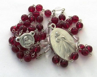 Divine Mercy Catholic Prayer Chaplet St Faustina Handmade Devotional