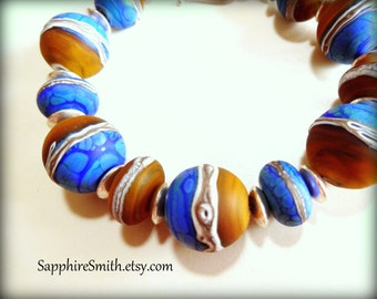 50% off CLEARANCE Cobalt Blue, Rust Brown, Ivory Artisan Lampwork Glass & Bali Sterling Silver Bracelet