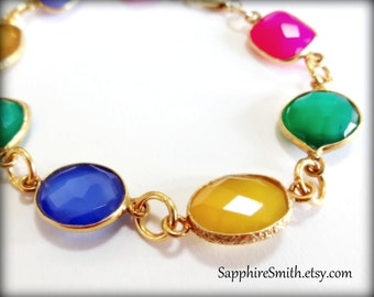 Multi-Gemstone & Bali Gold Vermeil Links Bracelet, green onyx, blue, yellow, hot pink