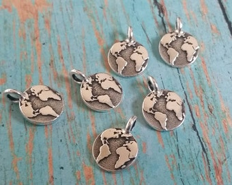 Tierracast Earth Charm, Tierra Cast Silver Plated Pewter Charms, Lead Free, Made in USA  (94-2408-12)