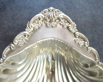 Silver Tray, Footed Platter, Beach Wedding, Shell Scalloped Bowl, Beachy Shabby Chic Vintage, Shrimp, Cards, Ornate Flowers, Tropical Glam
