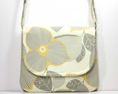 Small Foldover Crossbody Bag Small Shoulder Purse Sling Bag CrossBody Bag - Yellow and Gray Optic Blossom on Cream - Amy Butler Fabric