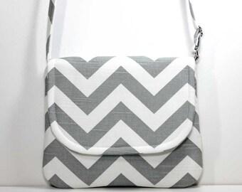 Small Foldover Crossbody Bag Small Shoulder Purse Sling Bag Hobo Bag Cross Body Bag - Gray / Grey and White Chevron - Made to Order