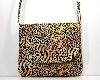 Small Foldover Crossbody Bag Small Shoulder Purse Sling Bag Hobo Bag Cross Body Bag - Leopard Animal Print - Made to Order