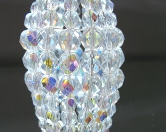 Petite Beaded Chandelier Light Bulb Cover, Iridescent Faceted Glass, Chandelier Shade, Sconce Shade, Candelabra Shade, Lamp Shade