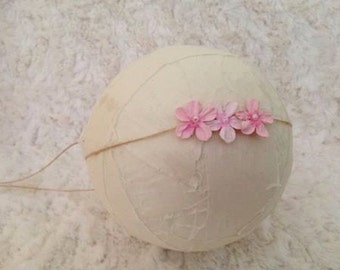 Newborn to Child Tie Back, Sweet Little Pink Flower and Twine Tie Back Headband, Newborn Photography Prop, Baby Headband