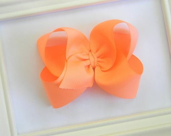 Peach Boutique Hair Bow - Peach Hair Bow - Large Boutique Bow