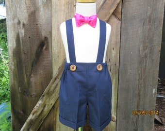 Boys navy blue shorts, boys suspender shorts with cuffs, ring bearer shorts,available to order 12m,18m 2t, 3t 4t, 5t