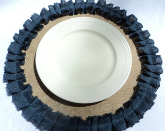 Choose your Color of Ruffles Natural Burlap Placemats Round Placemats
