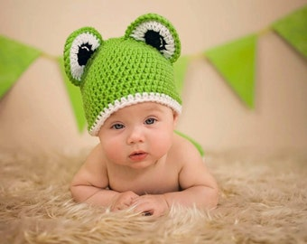 Crochet Frog Beanie - Photo Prop - Available in Any Size or Color Combination