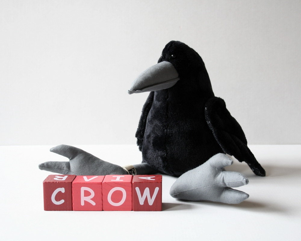 Black Crow Plush Birdie, Cuddly Raven Plush Toy