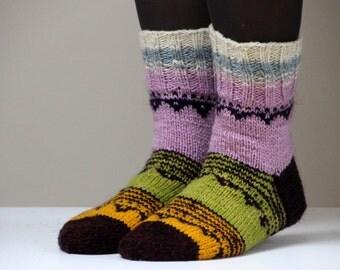 Hand knit wool socks, size - medium, US W 7.5, EU 38